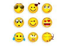 Set of nine smileys