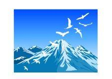 free vector Bird and mountain scene vector