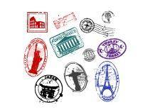 Famous monument travel stamps