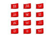 Laundry symbols on clothing labels
