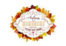 free vector Label with autumn leaves