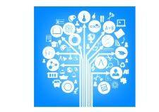 School symbol form of a tree blue
