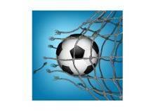 free vector Soccer goal breaking through the net
