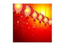 free vector Chinese new year background design with lanterns.
