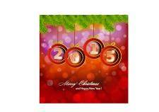 free vector Happy new year 2015 background with christmas bauble