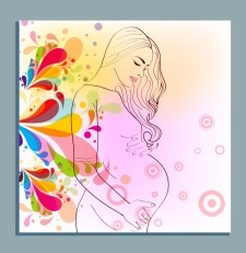 Motherhood background multicolored flowers decoration pregnancy sketch
