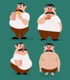Fat man icons funny cartoon character