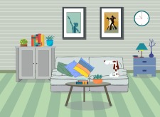Room decor background furniture icons modern design