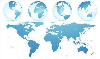 free vector Crystal blue earth world map vector material