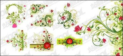 free vector Red and green flower pattern combination of vector material