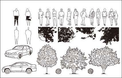 Cars, trees, vector