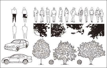 Cars, trees, vector