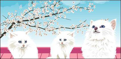 free vector White cat vector material