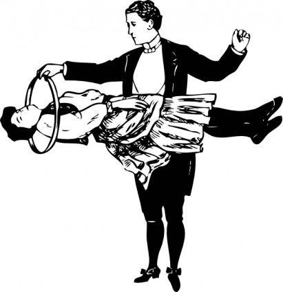 Magician And Floating Lady clip art