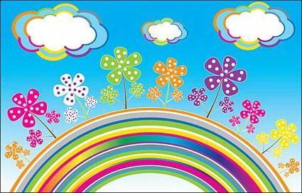 free vector Rainbow Clouds Vector flowers