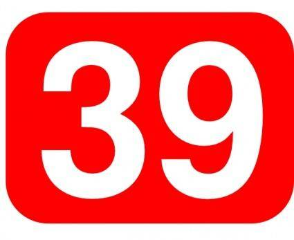 Red Rounded Rectangle With Number 39 clip art