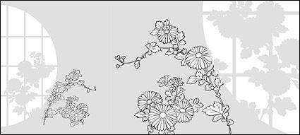 Vector line drawing of flowers-31(Chrysanthemum)