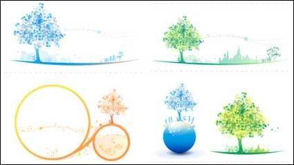 free vector Colorful Tree Icon Soft Color Vector