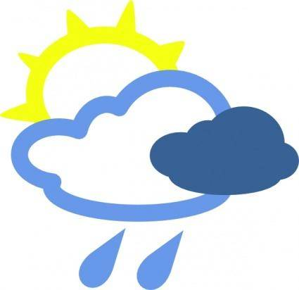 Sun And Rain Weather Symbols clip art