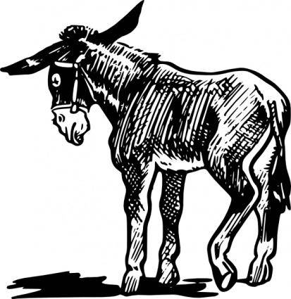free vector Donkey Outline In Black And White clip art