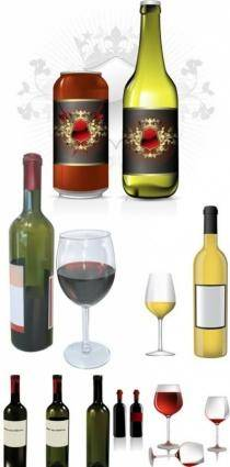 free vector Wine bottles and glasses