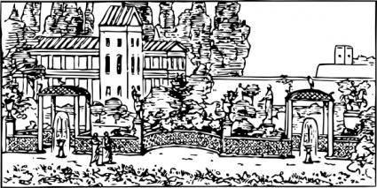Roman Garden clip art