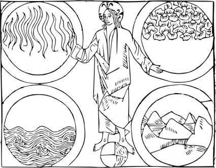 Cibo God And The Four Elements clip art