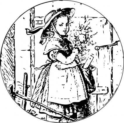 Girl With Flowers clip art