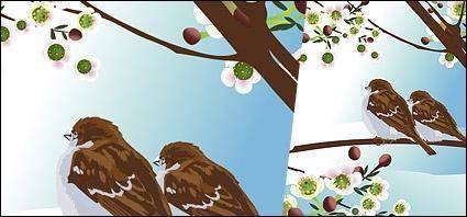 free vector Tow bird on tree