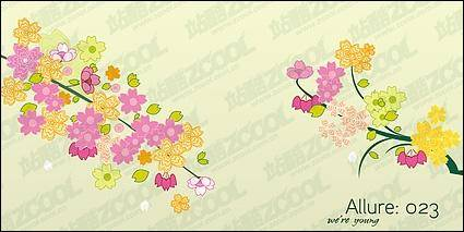 free vector Lovely flowers, branches vector material