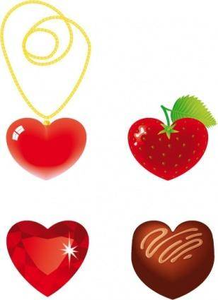 free vector Heart Shaped Gold Chain, Strawberry Diamond and Chocolate