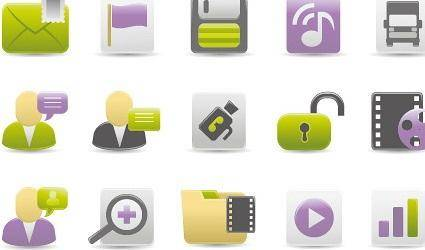 Web Design Gray Green Purple icon