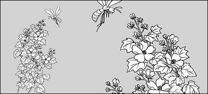 Line drawing of flowers -15