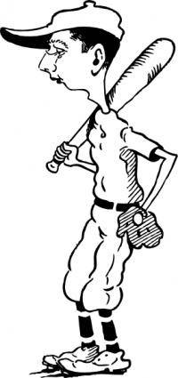 Old Time Ball Player clip art