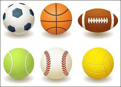 free vector Football, basketball, rugby, tennis, baseball, volleyball vector material