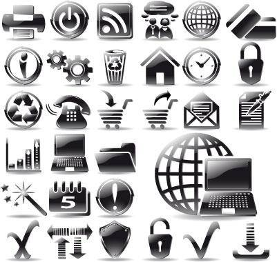 free vector Glossy black web icons set