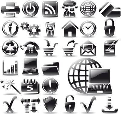 Glossy black web icons set