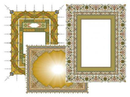 free vector 3 Exquisite classic lace patterns-1