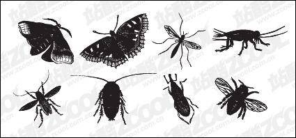 free vector Black and white insect vector material
