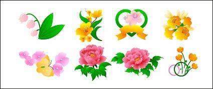 free vector Peony flowers, roses, tulips and other flowers