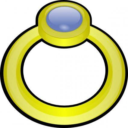 Golden Ring With Gem clip art