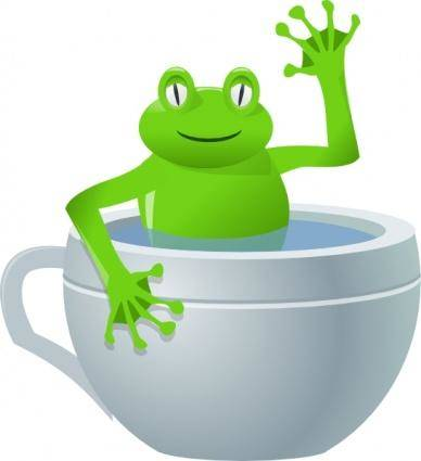 Frog In Tea Cup clip art