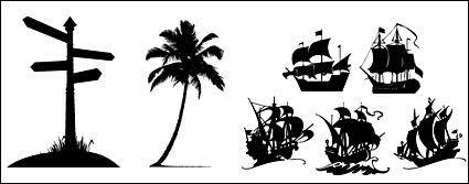 free vector Road signs, coconut trees, sailing icon material