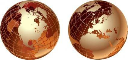 free vector Golden transparent globes
