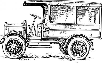 Old Medium Truck clip art