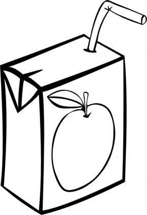 Apple Juice Box (b And W) clip art