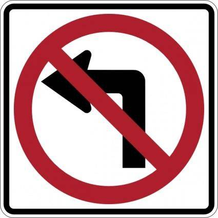 free vector No Left Turn Sign clip art