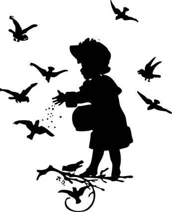 free vector Girl Feeding Birds clip art