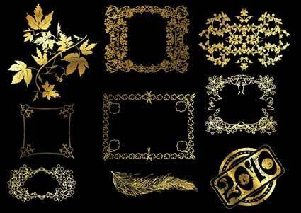 12 gold lace pattern vector