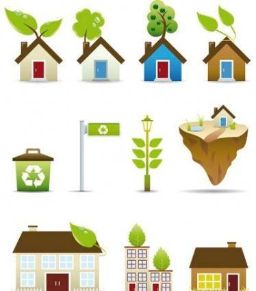 free vector Green House Icons